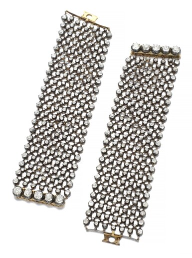 View 2. Thumbnail of Lot 152. PAIR OF DIAMOND BRACELETS/CHOKER, LATE 19TH CENTURY AND LATER.