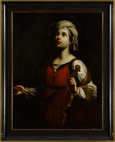 View 3. Thumbnail of Lot 40. St. Cecilia playing the violin.