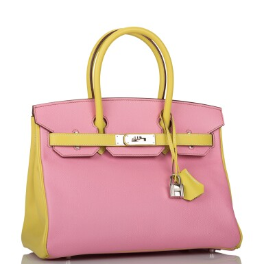 View 2. Thumbnail of Lot 34. HERMÈS | HORSESHOE STAMP (HSS) BICOLOR BUBBLEGUM AND LIME BIRKIN 30CM OF EPSOM LEATHER WITH PALLADIUM HARDWARE.