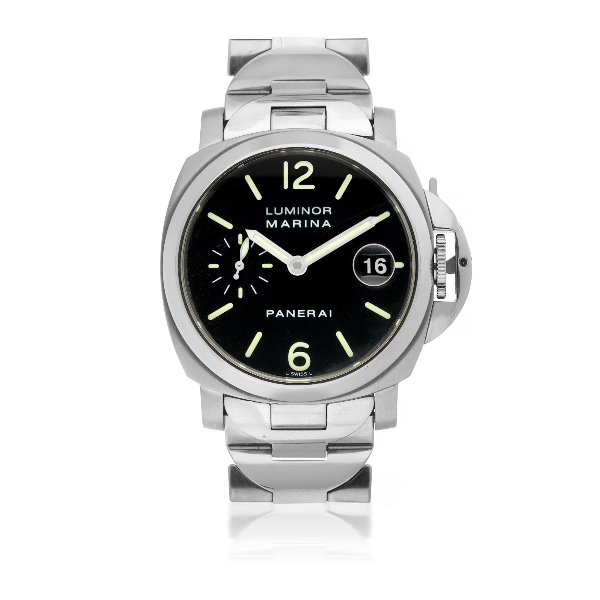 View full screen - View 1 of Lot 104. PANERAI | REF OP 6560 LUMINOR MARINA, A STAINLESS STEEL AUTOMATIC WRISTWATCH WITH DATE AND BRACELET CIRCA 2000.