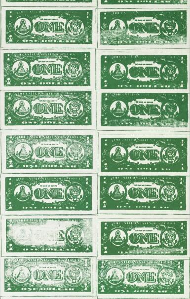View 3. Thumbnail of Lot 121. Front and Back Dollar Bills | 《美元的正反面(兩部分)》.