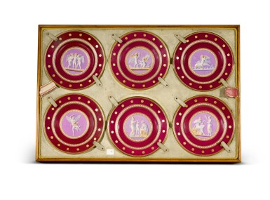 View 2. Thumbnail of Lot 105. A Royal presentation set of eighteen Royal Copenhagen claret-ground plates, circa 1858.