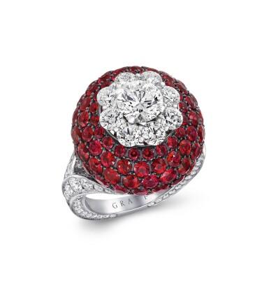 View 1. Thumbnail of Lot 51. GRAFF | RUBY AND DIAMOND RING 格拉夫 | 紅寶石配鑽石戒指.