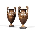 A PAIR OF NEOCLASSICAL PATINATED BRONZE VASES, SECOND HALF OF 19TH CENTURY | PAIRE DE VASES NEOCLASSIQUES EN BRONZE PATINE DE LA SECONDE MOITIE DU XIXE SIECLE