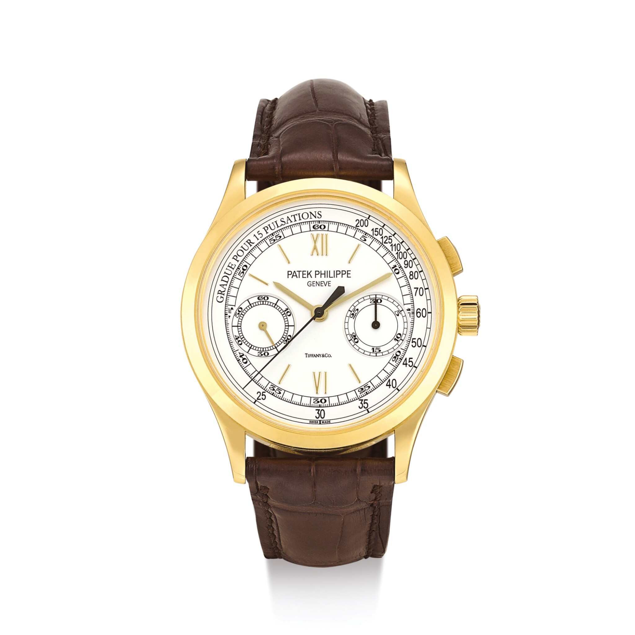 """View full screen - View 1 of Lot 2070. PATEK PHILIPPE     REFERENCE 5170  A YELLOW GOLD CHRONOGRAPH WRISTWATCH WITH PULSATION SCALE, RETAILED BY TIFFANY & CO., MADE IN 2010""""   百達翡麗   型號5170 黃金計時腕錶,備脈搏計刻度,由蒂芙尼發行,機芯編號5532742,錶殼編號4517335,2010年製""""."""