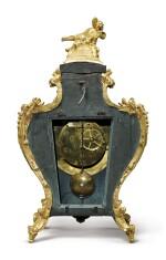 A LOUIS XV GILT BRONZE-MOUNTED BLUE-STAINED HORN BRACKET CLOCK, CIRCA 1730