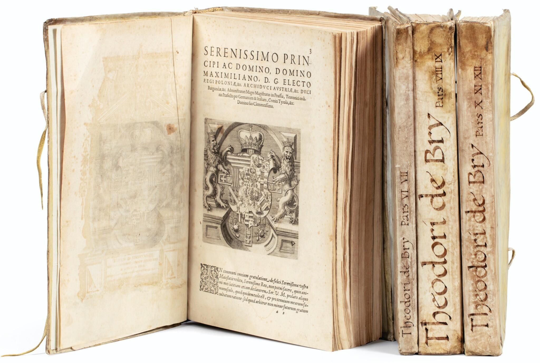 View full screen - View 1 of Lot 198. [Grands voyages]. Frankfurt, Johann Wechel, 1590-1625.12 parties en 4 volumes in-folio. Vélin ancien..