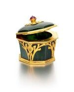 A JEWELLED GOLD-MOUNTED NEPHRITE BOX, POSSIBLY IVAN FEODOROV, MOSCOW, 1899-1908