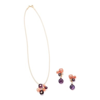 AMETHYST, CORAL AND DIAMOND 'DELICES DE GOA' PENDANT-NECKLACE AND PAIR OF EARCLIPS, CARTIER, FRANCE