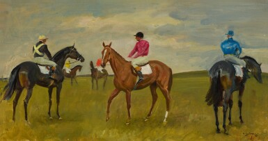 View 1. Thumbnail of Lot 56. SIR ALFRED JAMES MUNNINGS, P.R.A., R.W.S. | FIVE RACEHORSES WITH JOCKEYS UP.