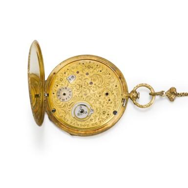 View 2. Thumbnail of Lot 291. AMI SANDOZ ET FILS | A LADY'S SLIM GOLD AND ENAMEL BAGNOLET WATCH, CIRCA 1850.