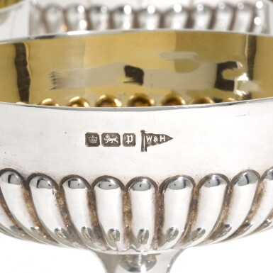 View 3. Thumbnail of Lot 40. A SET OF SIX EDWARDIAN SILVER CHAMPAGNE COUPES, WALKER & HALL, SHEFFIELD, 1907.