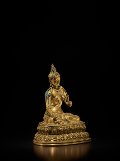 View 3. Thumbnail of Lot 107. A Tibeto-Chinese gilt-bronze figure of White Tara, Circa 1700 | 約1700年 藏傳銅鎏金白度母坐像.