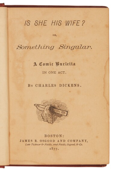 Dickens, Is She His Wife?, 1877, first edition of the first American reprint