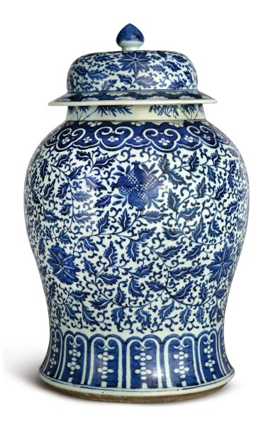 View 1. Thumbnail of Lot 1133. A BLUE AND WHITE 'FLORAL' BALUSTER JAR AND COVER, 19TH CENTURY.