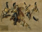FRANÇOIS SCHOMMER | STUDIES OF A RUSSIAN SOLDIER IN COMBAT DURING THE NAPOLEONIC WAR