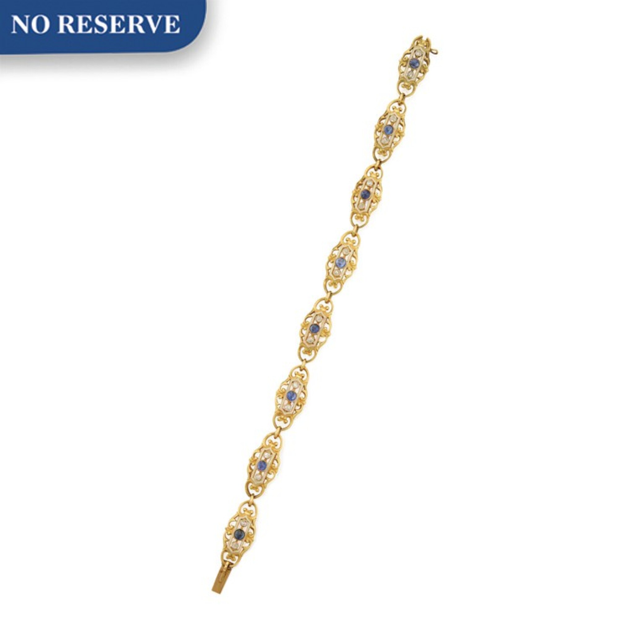 View full screen - View 1 of Lot 49. GOLD, SAPPHIRE, ENAMEL AND DIAMOND BRACELET.