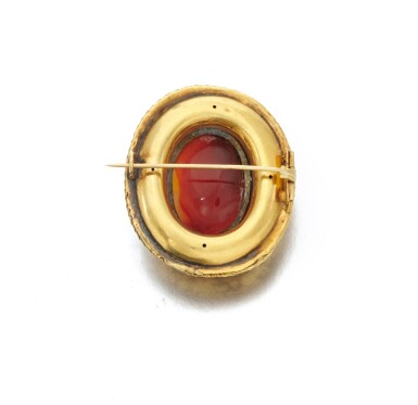 View 3. Thumbnail of Lot 1. Carnelian intaglio brooch (Spilla intaglio in corniola), 1860     .