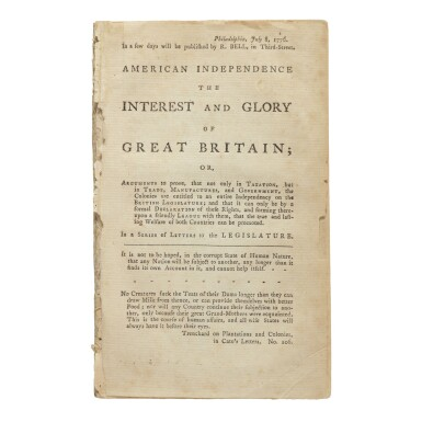 View 2. Thumbnail of Lot 133. The Declaration of Independence | The first book-form printing of the Declaration of Independence.