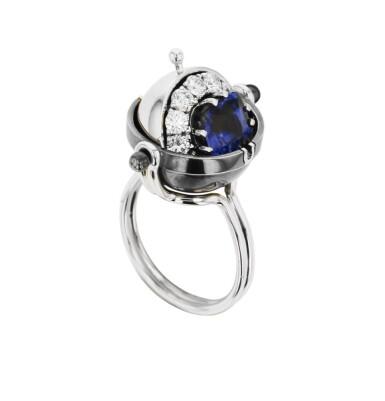 View 1. Thumbnail of Lot 3. Elie Top, Sapphire and Diamond Ring [Bague Saphir et Diamants], 'Sirius'.