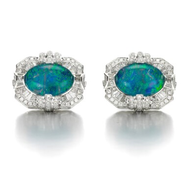 View 1. Thumbnail of Lot 132. James Ganh   Pair of opal triplet and diamond cufflinks.
