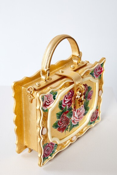 View 7. Thumbnail of Lot 43. Enamel Flower Embellished Limited Edition Box Bag in Golden Hand-Painted Wood with Vintage Plated Brass Hardware, Spring/Summer 2021.