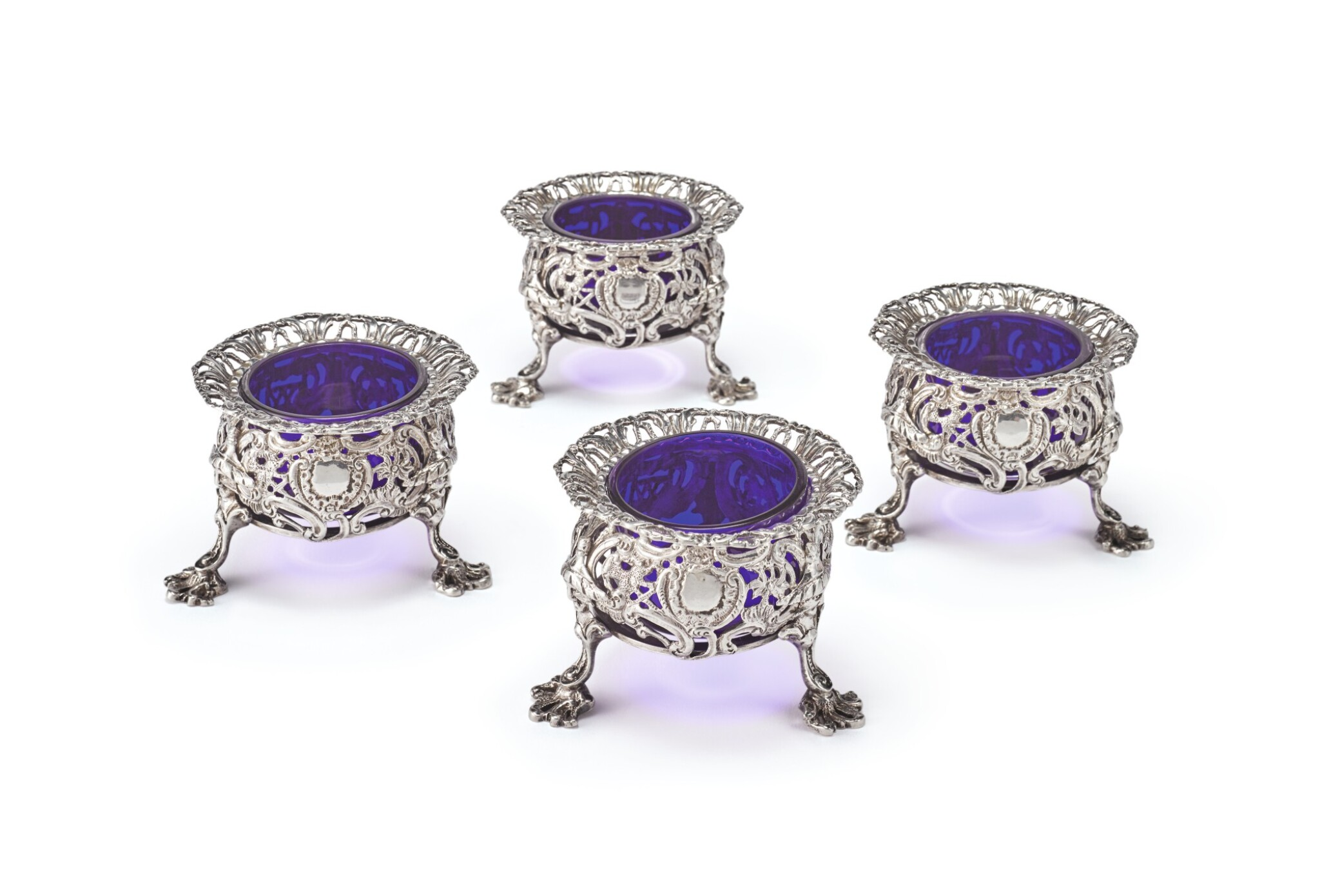 View full screen - View 1 of Lot 262. A SET OF FOUR GEORGE II SILVER CHINOISERIE SALTS, THOMAS HEMING, LONDON, 1754.
