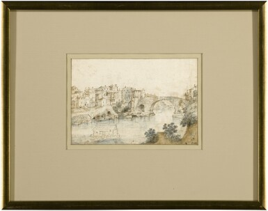View 3. Thumbnail of Lot 19. Recto: View Along the Tiber Verso: Sketch of a Rocky Grotto with Ruins    .