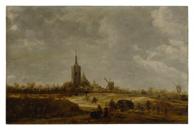 View 1. Thumbnail of Lot 553. Dune landscape with travelers on a path and a view of The Hague in the distance.