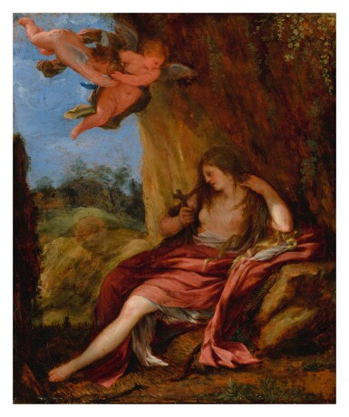ROMAN SCHOOL, 17TH CENTURY | THE PENITENT MARY MAGDALENE IN A CAVE WITH TWO PUTTI