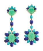 Pair of 18 karat Gold, Turquoise, Lapis Lazuli, Chrysoprase and Diamond Pendant-Earclips