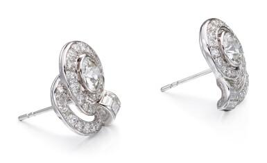 View 2. Thumbnail of Lot 1001. PAIR OF DIAMOND EARRINGS   鑽石耳環一對.