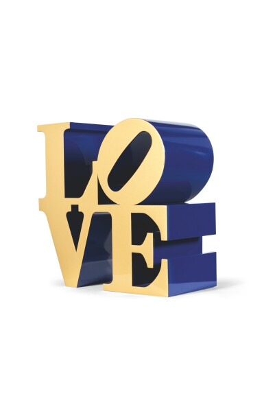 View 3. Thumbnail of Lot 33. ROBERT INDIANA  |  LOVE (GOLD FACES - BLUE SIDES).