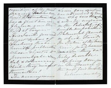 View 3. Thumbnail of Lot 126. QUEEN VICTORIA   autograph letter signed, to Tennyson, October 1883.