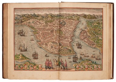 View 3. Thumbnail of Lot 41. Georg Braun und Franz Hogenberg | Civitates orbis terrarum. Cologne, 1597-c.1606, 5 volumes, hand-coloured, calf.
