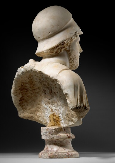 View 2. Thumbnail of Lot 30. A ROMAN MARBLE CUIRASSED BUST OF MARS, CIRCA LATE 4TH CENTURY A.D..