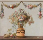 ATTRIBUTED TO MICHEL-BRUNO BELLENGÉ | A still life of flowers and fruit in a basket, with a duck and a garland of flowers