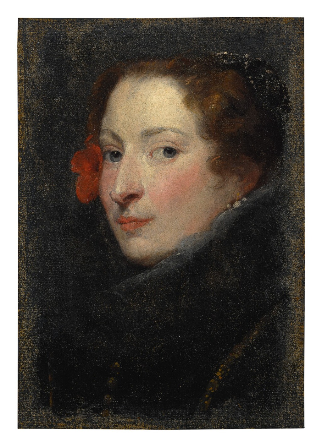 ATTRIBUTED TO SIR ANTHONY VAN DYCK   PORTRAIT OF MARCHESA ELENA GRIMALDI CATTANEO, BUST LENGTH, A STUDY