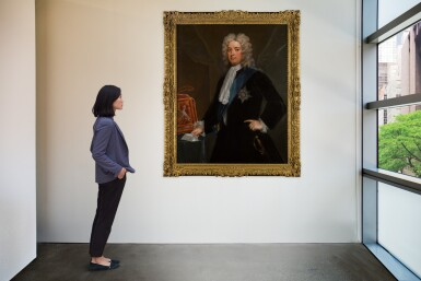 View 4. Thumbnail of Lot 190. Portrait of Sir Robert Walpole, 1st Earl of Orford (1676-1745) as Chancellor of the Exchequer, standing three-quarter-length, in a black velvet coat, wearing the Star and Riband of the Order of the Garter.
