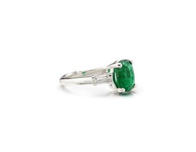 View 2. Thumbnail of Lot 72. EMERALD AND DIAMOND RING.