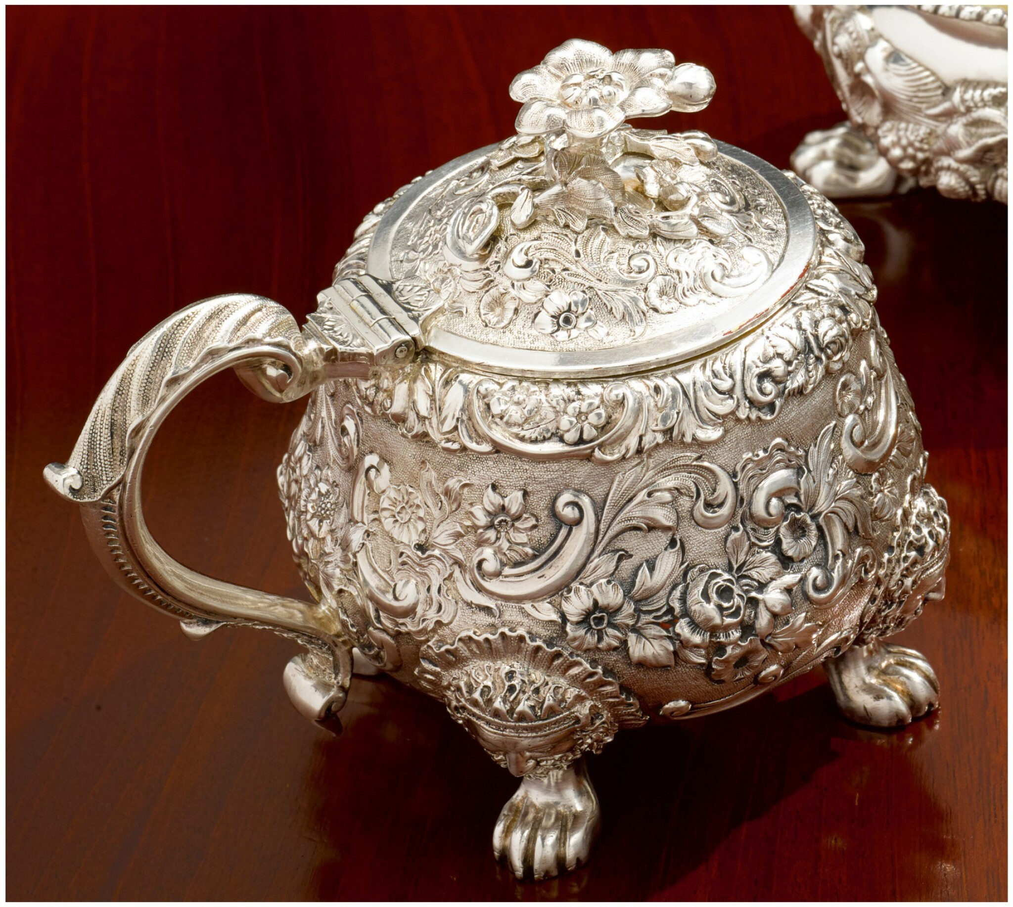 View full screen - View 1 of Lot 19. A GEORGE IV SILVER MUSTARD POT, PAUL STORR, LONDON, 1825.
