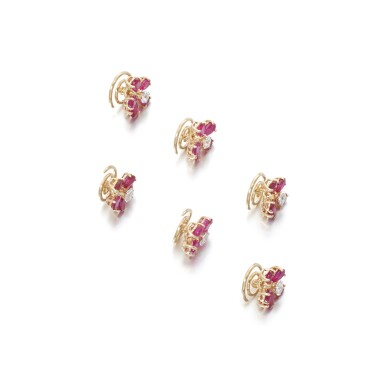 View 2. Thumbnail of Lot 84. Ruby and diamond pin brooches.