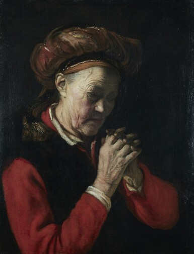 CORNELIS BISSCHOP | AN OLD WOMAN IN PRAYER