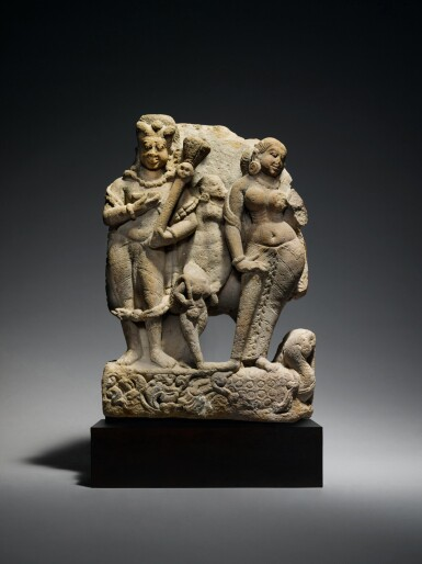 View 1. Thumbnail of Lot 360. A Sandstone Group of Shiva as Bhairava with River Goddess Ganga, Central India, 8th/9th Century.