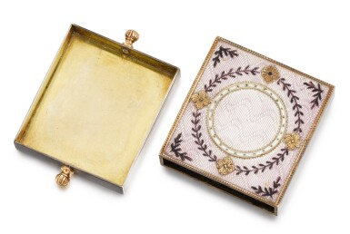 View 3. Thumbnail of Lot 12. A Fabergé silver-gilt, gold and guilloché enamel eraser holder, Moscow, circa 1890.