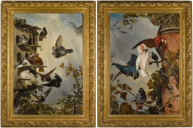 View 3. Thumbnail of Lot 1. PHILIPPE ROUSSEAU  |  A STILL LIFE WITH PIGEONS IN A ROOSTING HOUSE IN A TREETOP; AND A STILL LIFE WITH PARROTS AND A MONKEY PERCHED ON THE BRANCHES OF A GRAPEVINE .
