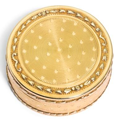 View 1. Thumbnail of Lot 58.  A TWO-COLOUR GOLD PILL BOX, PROBABLY JACQUES-ALEXIS JARRY, PARIS, 1786.