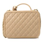 CHANEL | BEIGE CLAIR VANITY CASE IN GRAINED CALFSKIN WITH BRUSHED GOLD HARDWARE, 2017/2018