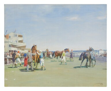 View 1. Thumbnail of Lot 27. SIR ALFRED JAMES MUNNINGS   UNSADDLING AT EPSOM, SUMMER MEETING (STUDY) .