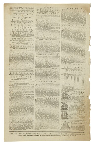 """View 3. Thumbnail of Lot 3. (AMERICAN REVOLUTION)   """"Unite or Die"""" political cartoon in the masthead ofThe Pennsylvania Journal; and the Weekly Advertiser, No. 1675. Philadelphia: Printed and Sold by William and Thomas Bradford, Wednesday, January 11, 1775."""